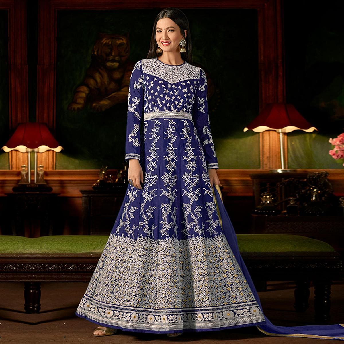 Fantastic Blue Colored Party Wear Embroidered Silk Anarkali Suit