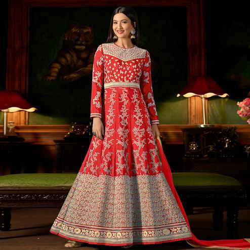 Staring Red Colored Party Wear Embroidered Silk Anarkali Suit