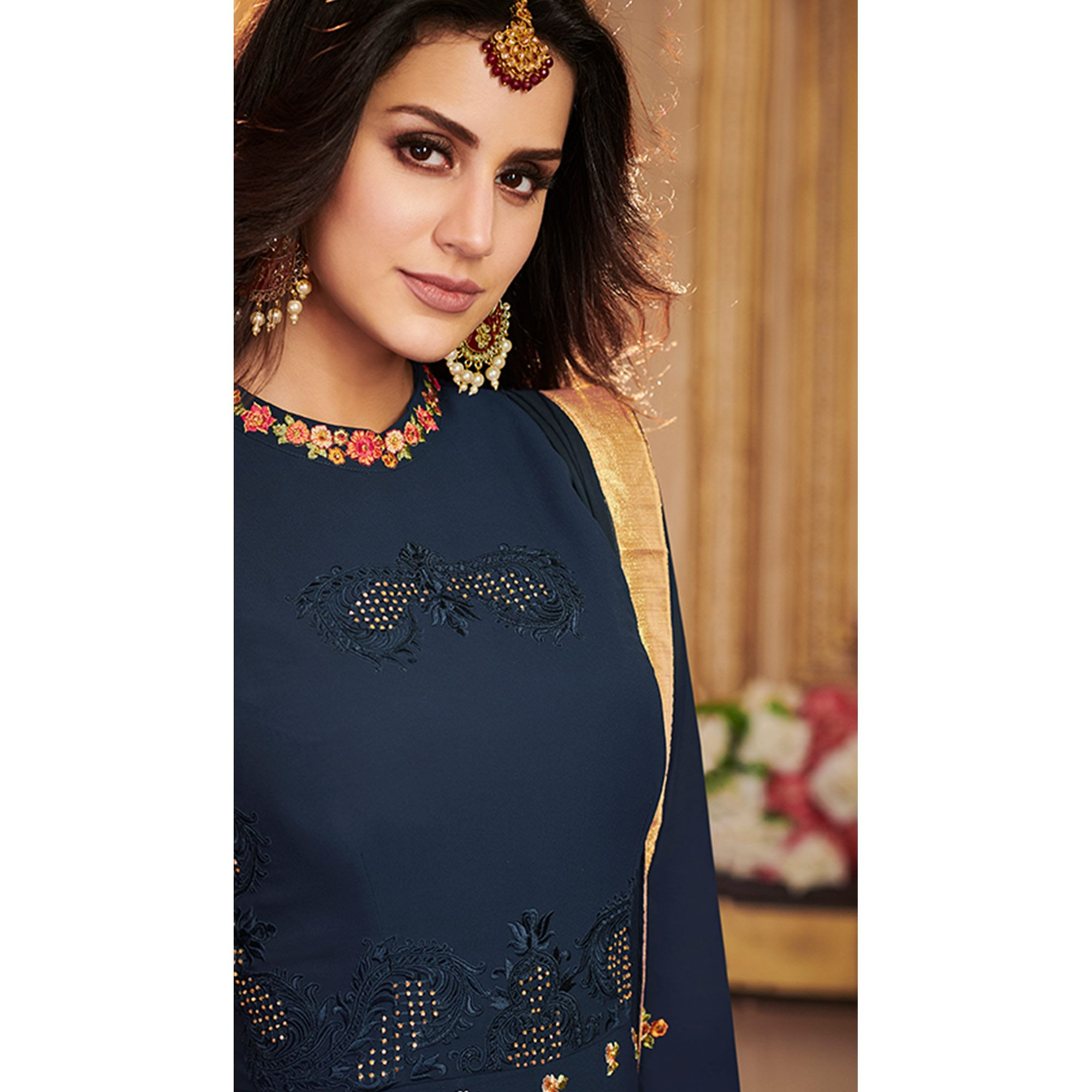 Marvellous Navy Blue Colored Partywear Embroidered Georgette Anarkali Suit