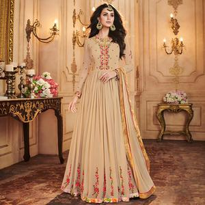 Gorgeous Beige Colored Partywear Embroidered Georgette Anarkali Suit