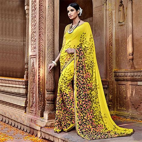 Yellow Digital Printed Georgette Saree