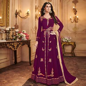 Fantastic Violet Colored Partywear Embroidered Georgette Anarkali Suit