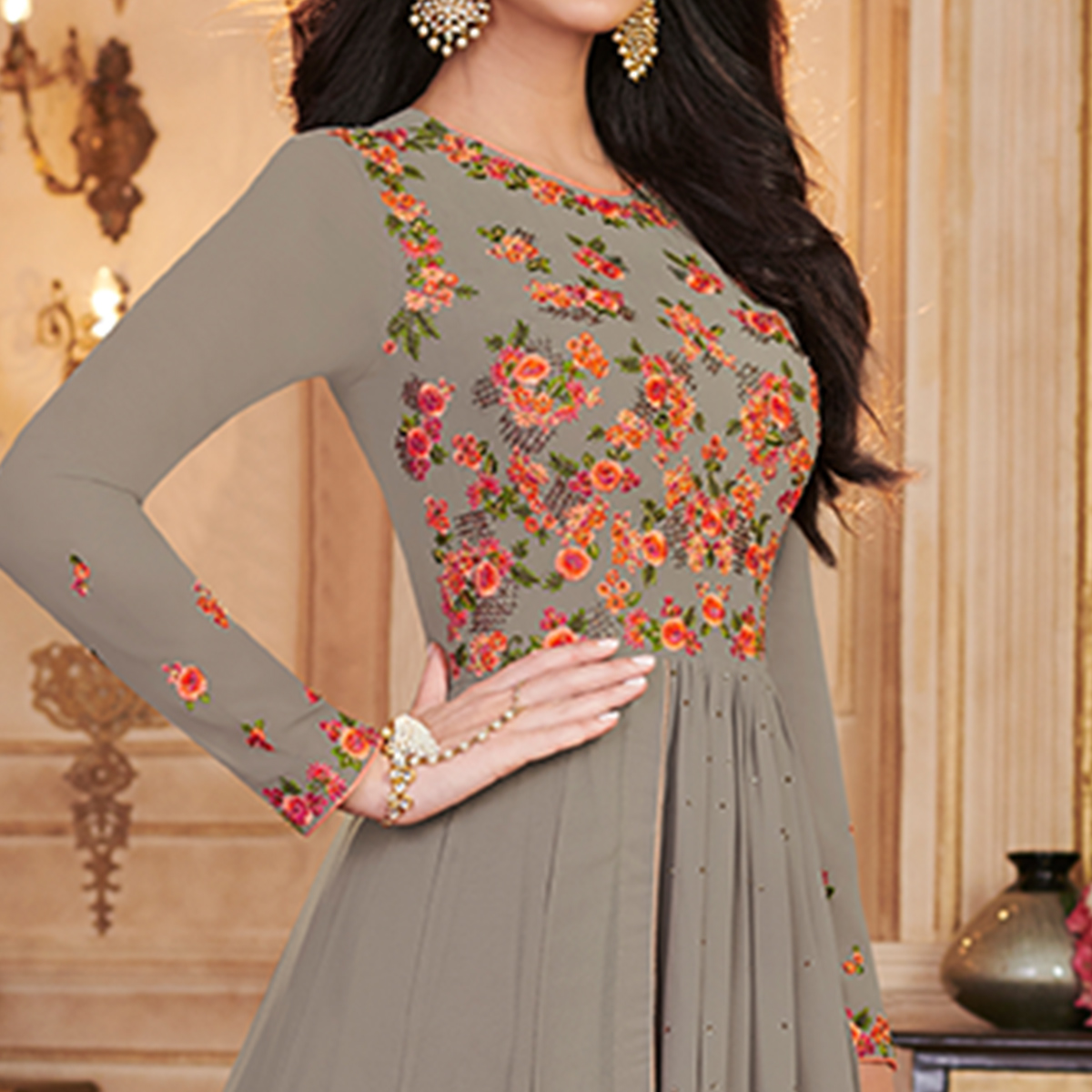 Blooming Gray Colored Partywear Embroidered Georgette Anarkali Suit