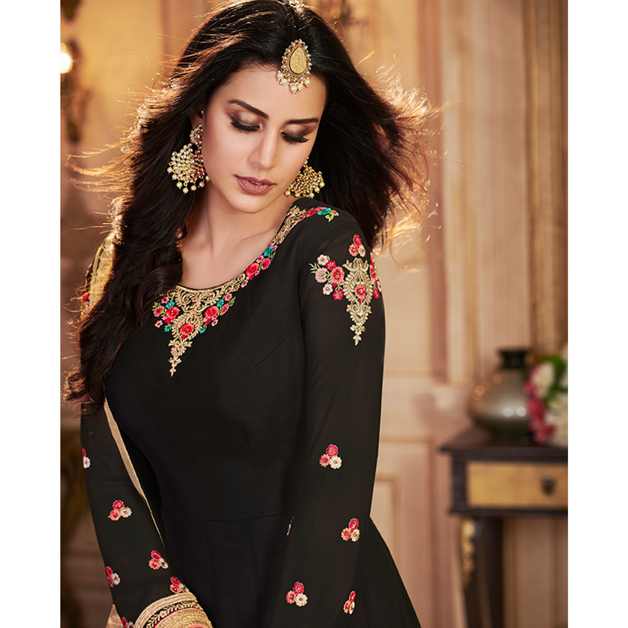 Flamboyant Black Colored Partywear Embroidered Georgette Anarkali Suit