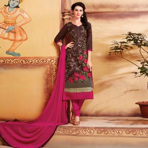 Intricate Brown Colored Party Wear Embroidered Cotton Dress Material
