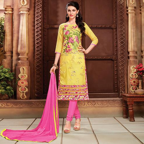 Demanding Yellow Colored Party Wear Embroidered Cotton Dress Material