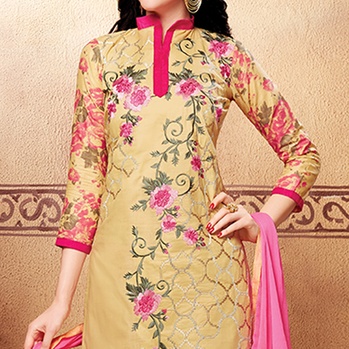 Pleasant Beige Colored Party Wear Embroidered Cotton Dress Material