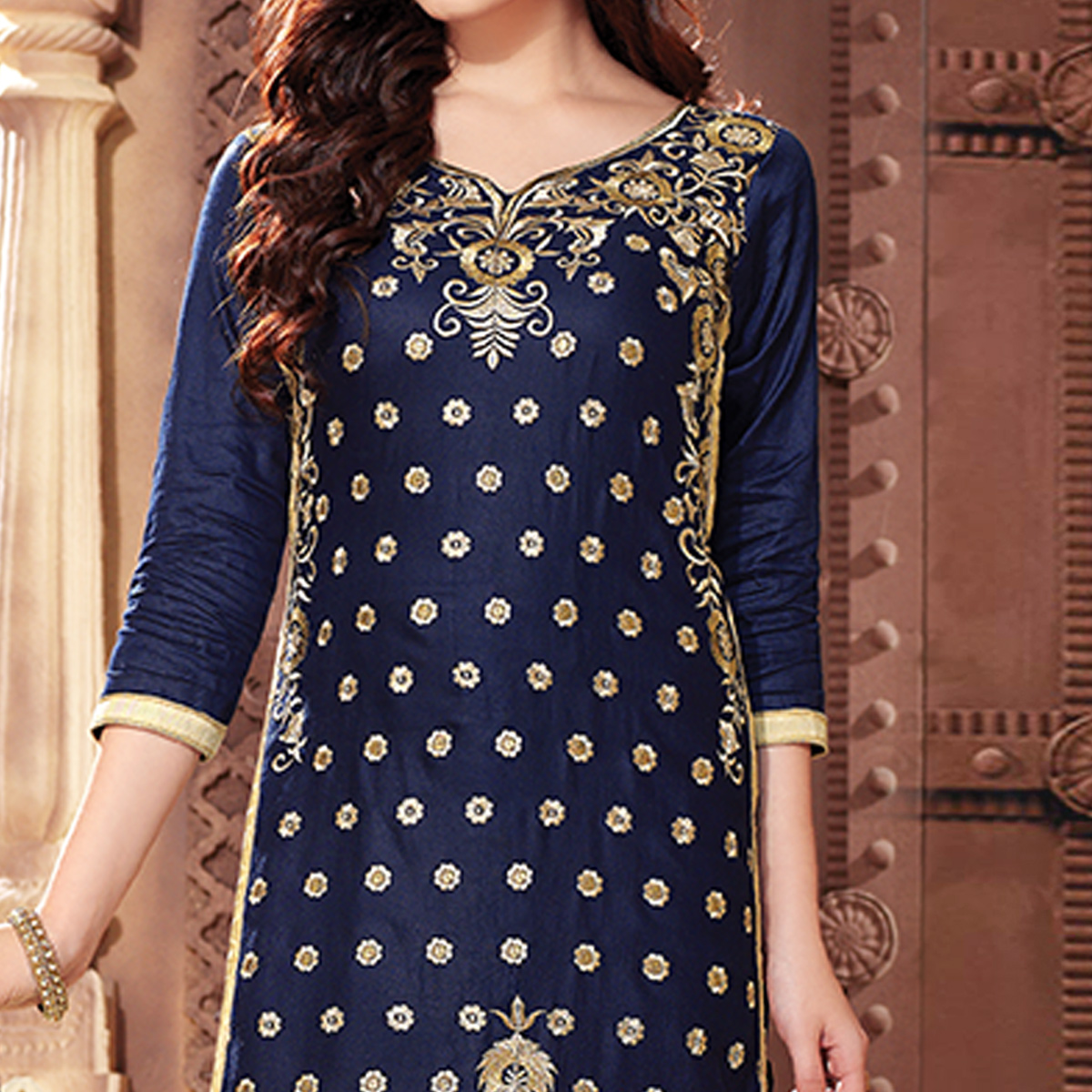 Refreshing Navy Blue Colored Party Wear Embroidered Cotton Dress Material