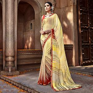 Cream Digital Printed Georgette Saree