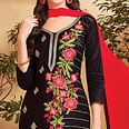 Elegant Black Colored Party Wear Embroidered Cotton Dress Material