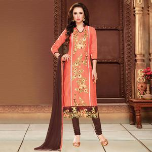Sensational Dark Peach Colored Party Wear Embroidered Cotton Dress Material