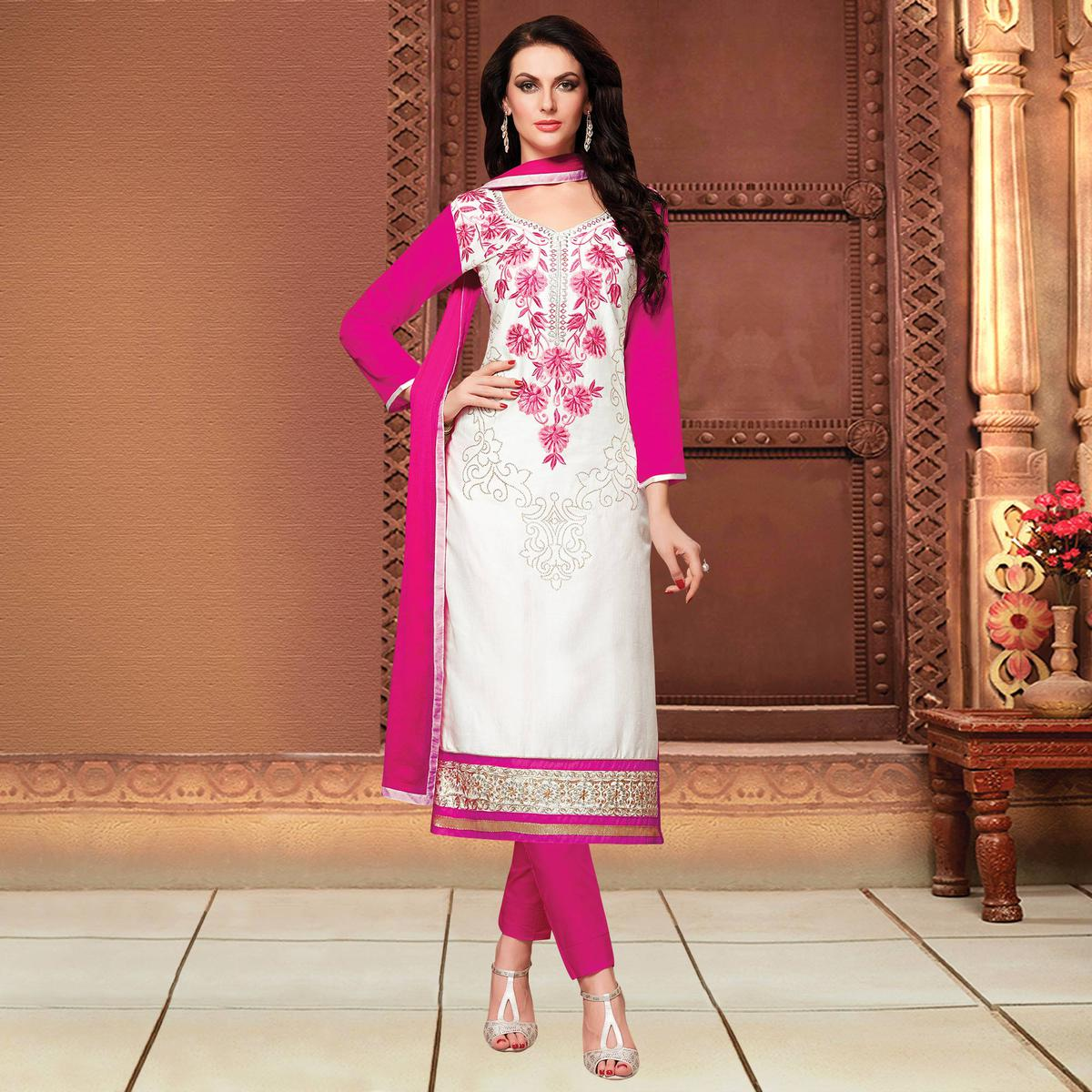 Opulent White Colored Party Wear Embroidered Cotton Dress Material