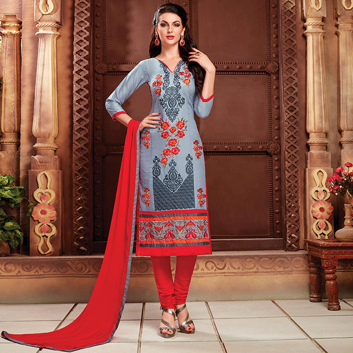 Dazzling Grey Colored Party Wear Embroidered Cotton Dress Material