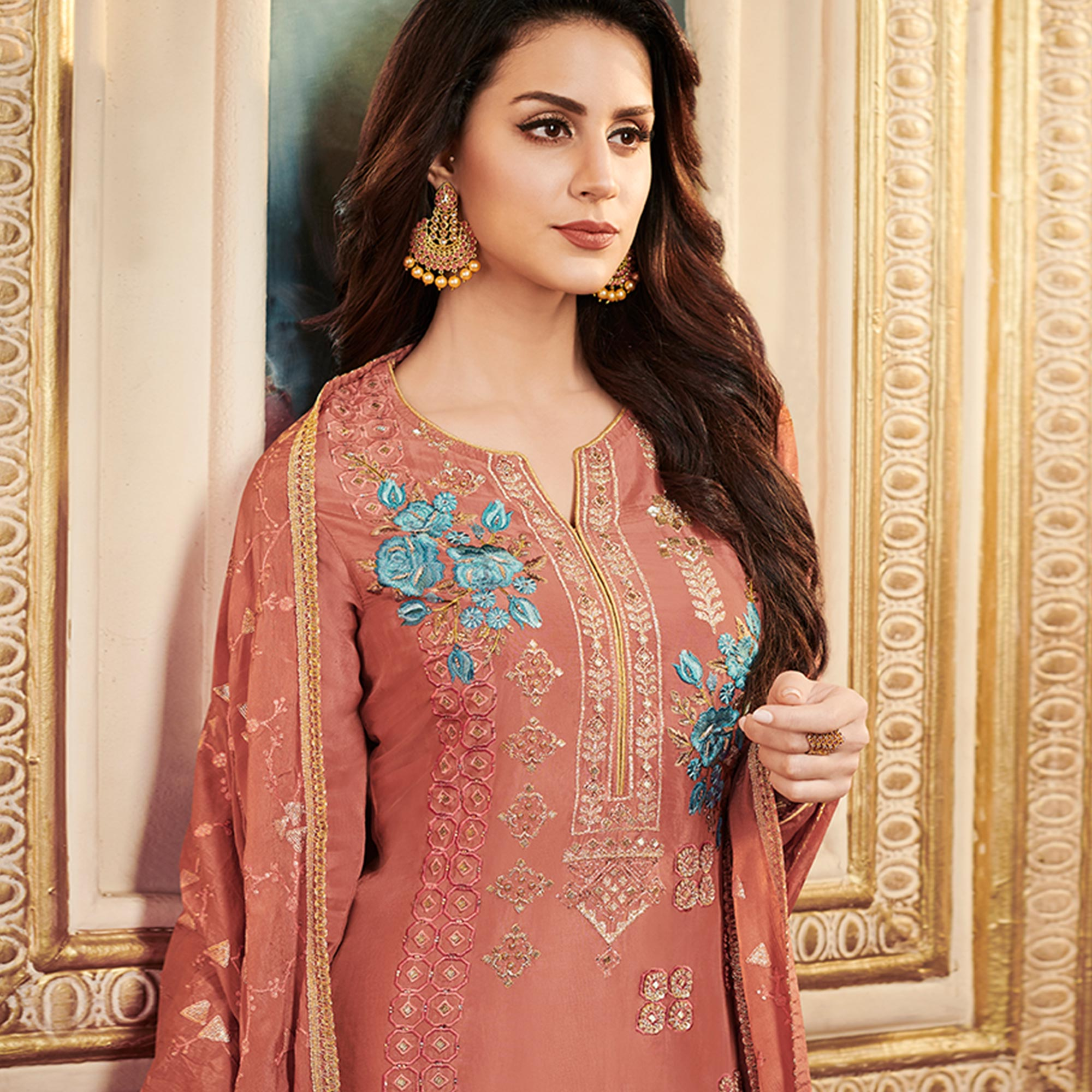 Exceptional Light Brown Colored Partywear Embroidered Uppada Silk Suit