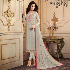 Appealing Light Gray Colored Partywear Embroidered Uppada Silk Suit