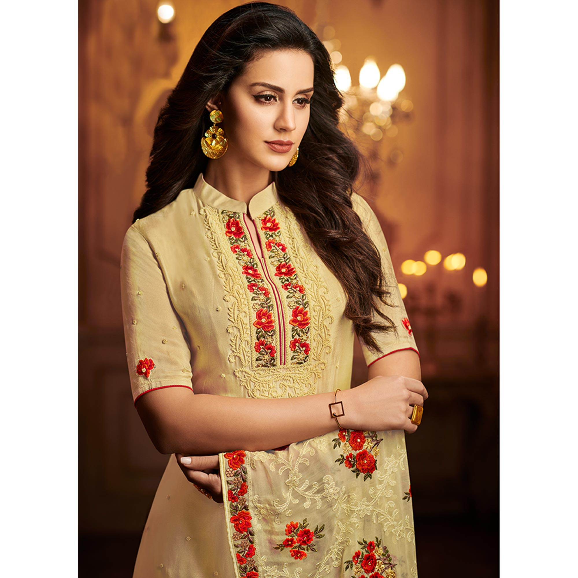 Impressive Beige Colored Partywear Embroidered Uppada Silk Suit