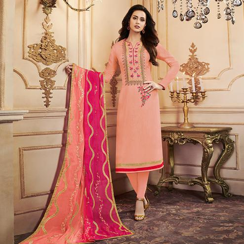 Fantastic Peach Colored Partywear Embroidered Uppada Silk Suit