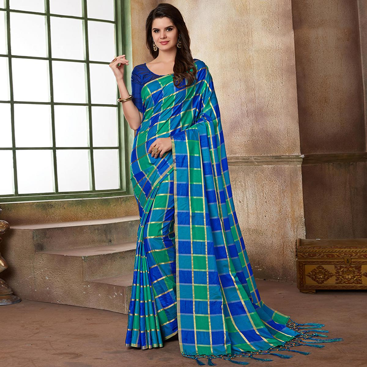 Charming Blue Colored Festive Wear Printed Art Silk Saree