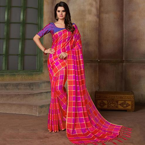 Ravishing Pink Colored Festive Wear Printed Art Silk Saree