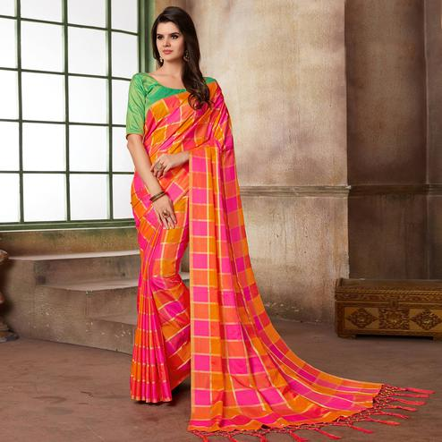 Delightful Pink & Orange Colored Festive Wear Printed Art Silk Saree