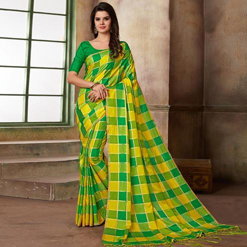 Stunning Yellow & Green Colored Festive Wear Printed Art Silk Saree