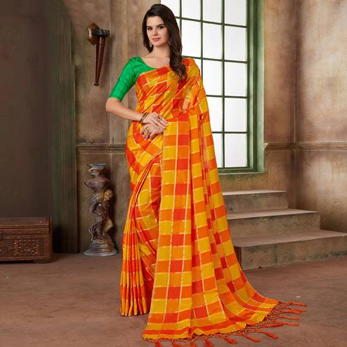Blooming Orange & Yellow Colored Festive Wear Printed Art Silk Saree