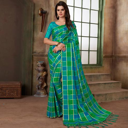 Marvellous Green & Blue Colored Festive Wear Printed Art Silk Saree