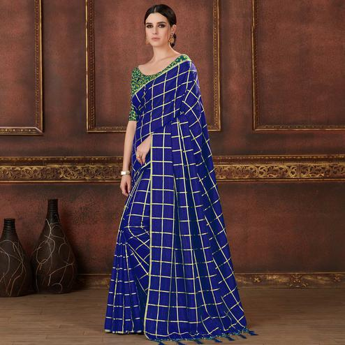Dazzling Royal Blue Colored Party Wear Embroidered Soft Silk Saree