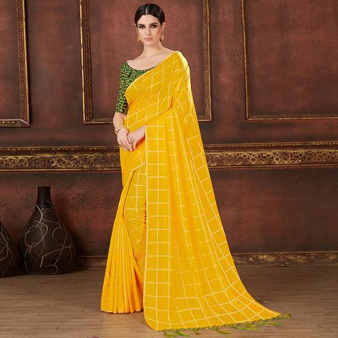 Flattering Yellow Colored Party Wear Embroidered Soft Silk Saree