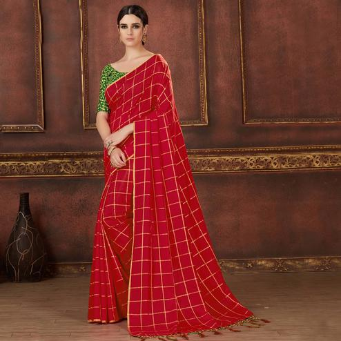 Breathtaking Red Colored Party Wear Embroidered Soft Silk Saree