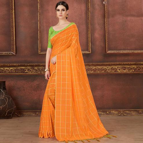 Impressive Orange Colored Party Wear Embroidered Soft Silk Saree