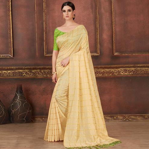 Innovative Cream Colored Party Wear Embroidered Soft Silk Saree
