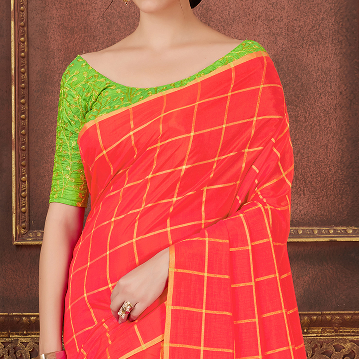 Gleaming Coral Red Colored Party Wear Embroidered Soft Silk Saree