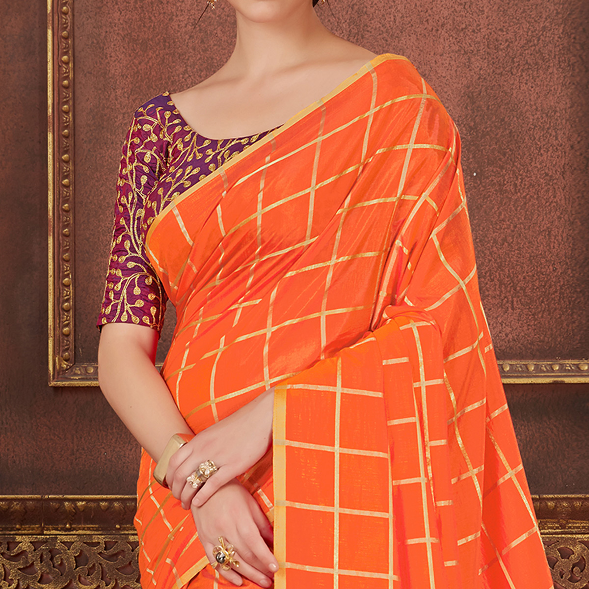 Arresting Orange Colored Party Wear Embroidered Soft Silk Saree
