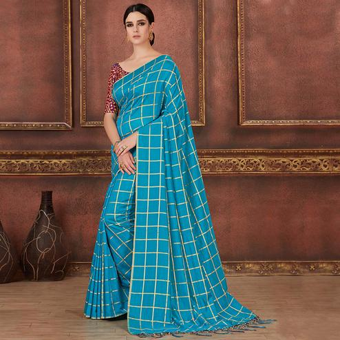 Exceptional Rama Blue Colored Party Wear Embroidered Soft Silk Saree