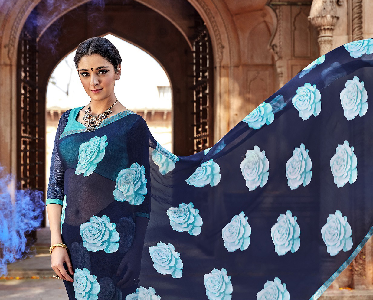 Navy Blue Floral Print Georgette Saree