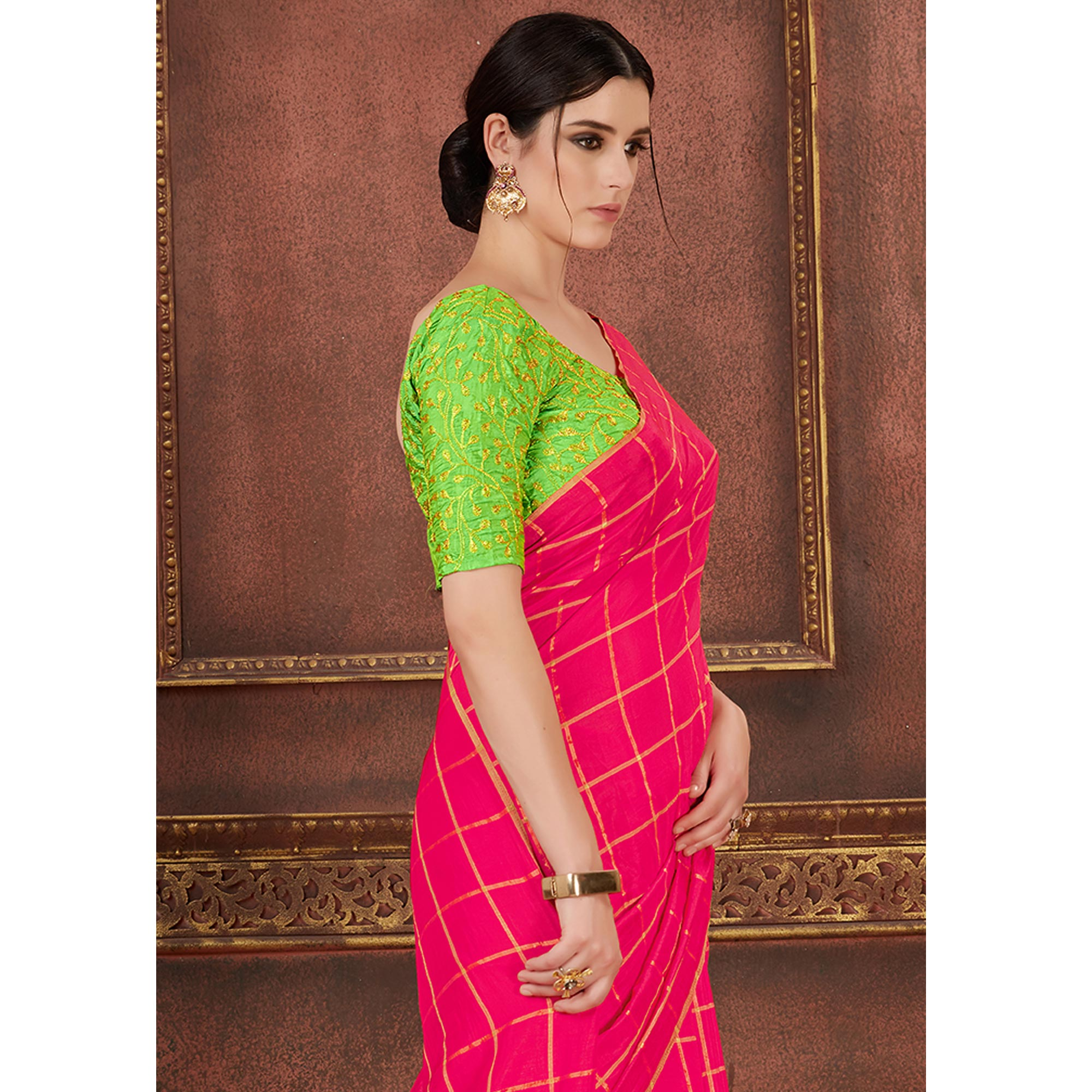 Excellent Hot Pink Colored Party Wear Embroidered Soft Silk Saree