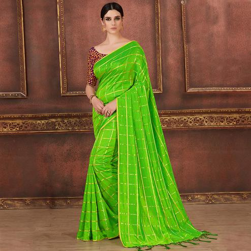 Ethnic Parrot Green Colored Party Wear Embroidered Soft Silk Saree