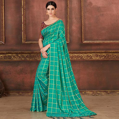 Starring Teal Blue Colored Party Wear Embroidered Soft Silk Saree