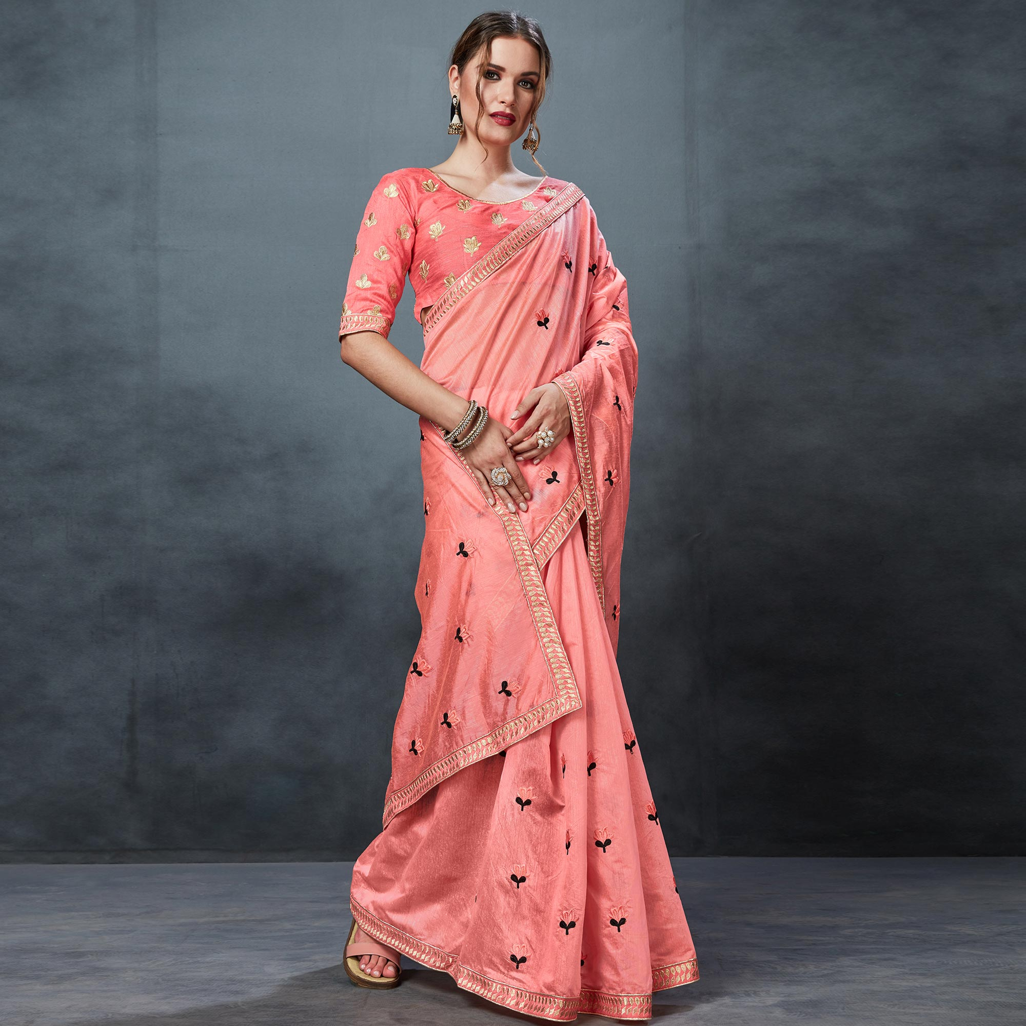 Magnetic Peach Colored Partywear Embroidered Chanderi Silk Saree