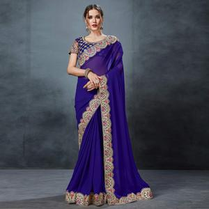 Adorable Blue Colored Partywear Georgette Saree