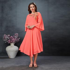 Stunning Neon Peach Colored Partywear Embroidered Georgette Fancy Kurti