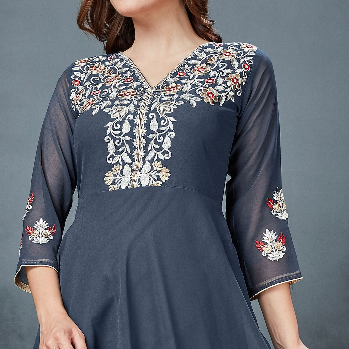 Stylish Dark Gray Colored Partywear Embroidered Georgette Fancy Kurti
