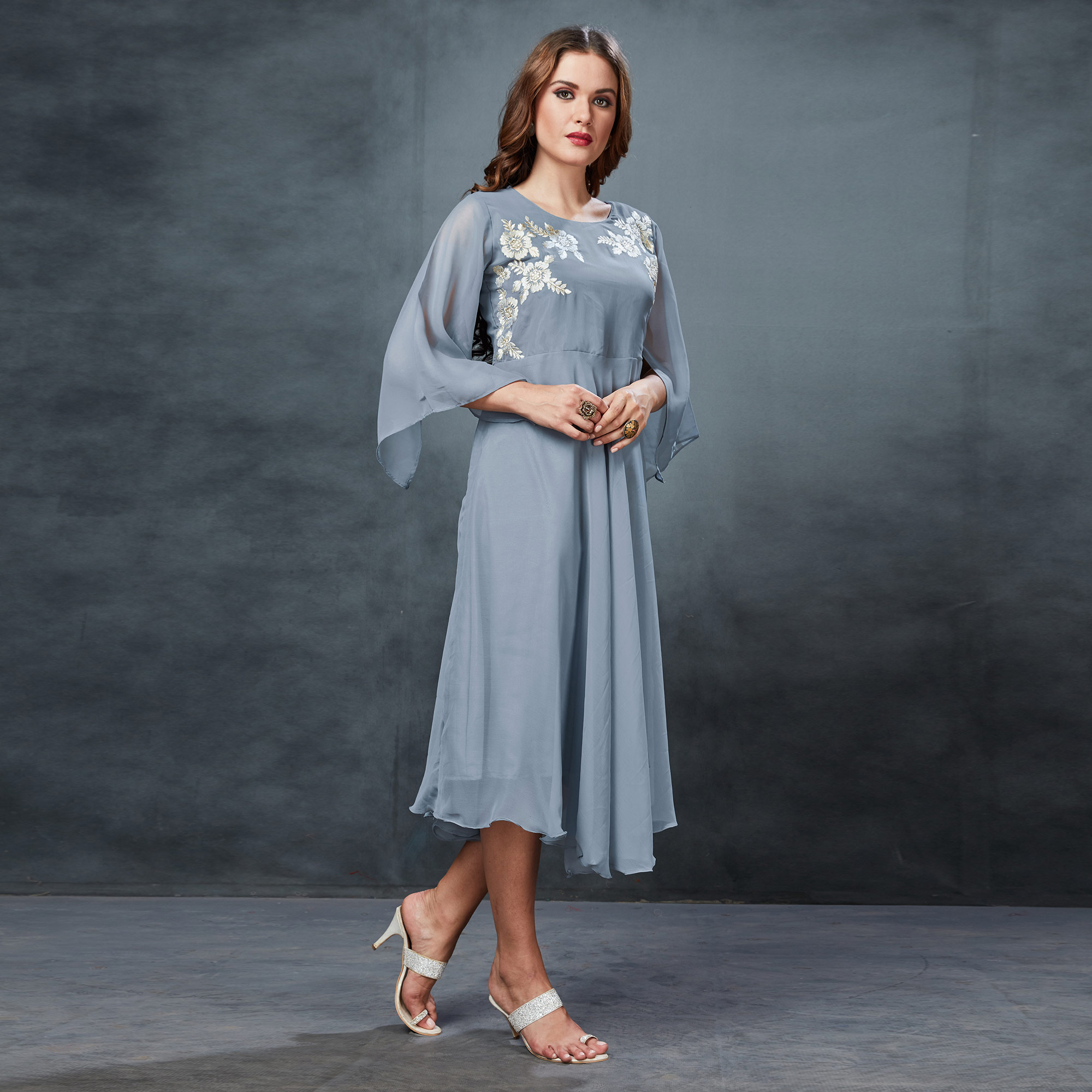 Gorgeous Light Gray Colored Partywear Embroidered Georgette Fancy Kurti