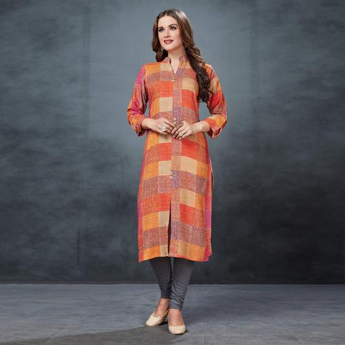 Beautiful Multi Colored Casual Printed Rayon Kurti