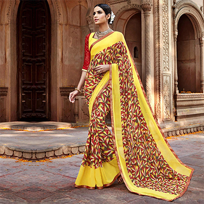 Yellow - Red Digital Printed Casual Saree