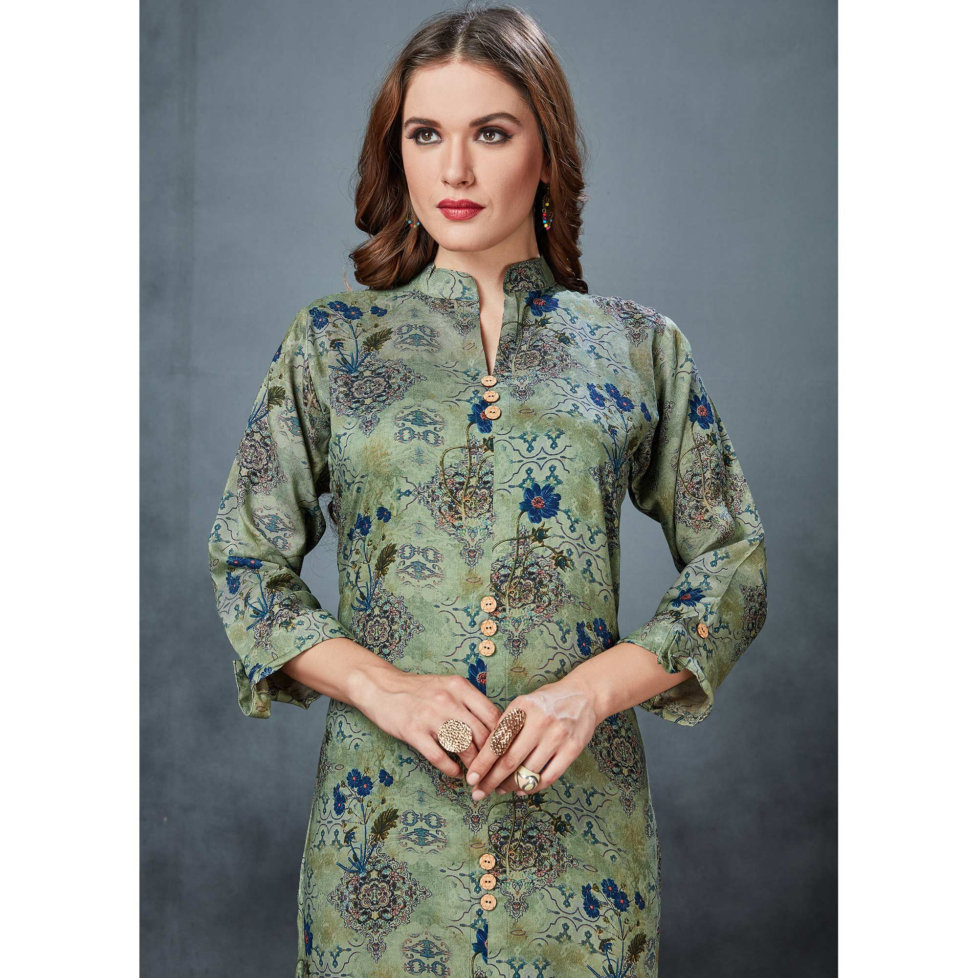 Exceptional Olive Green Colored Casual Printed Rayon Kurti