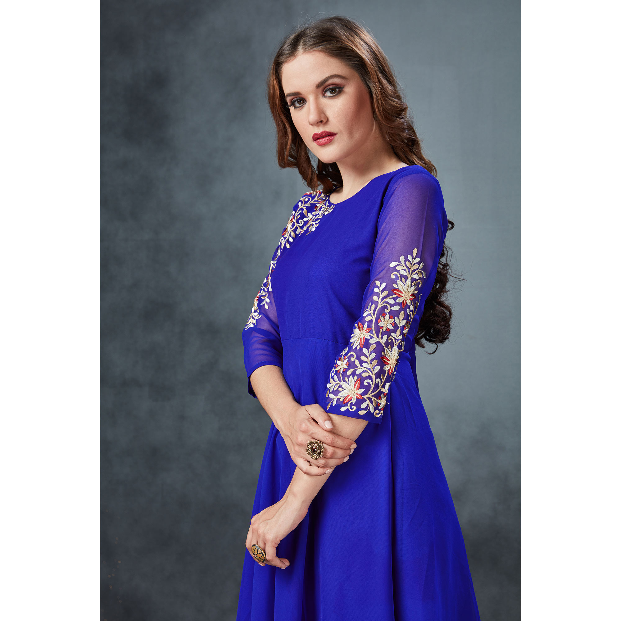 Desirable Blue Colored Partywear Embroidered Georgette Kurti