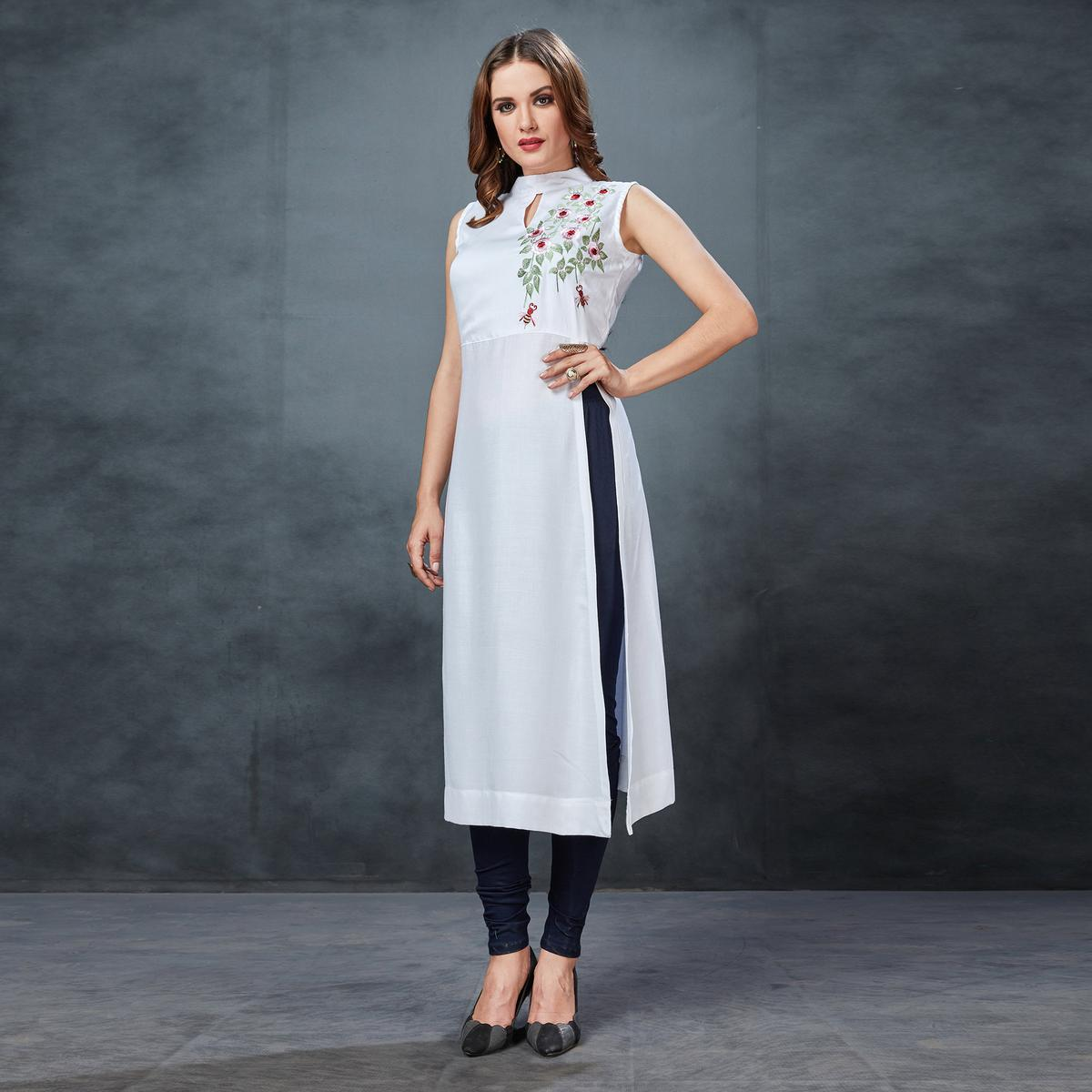 Impressive White Colored Partywear Embroidered Rayon Kurti