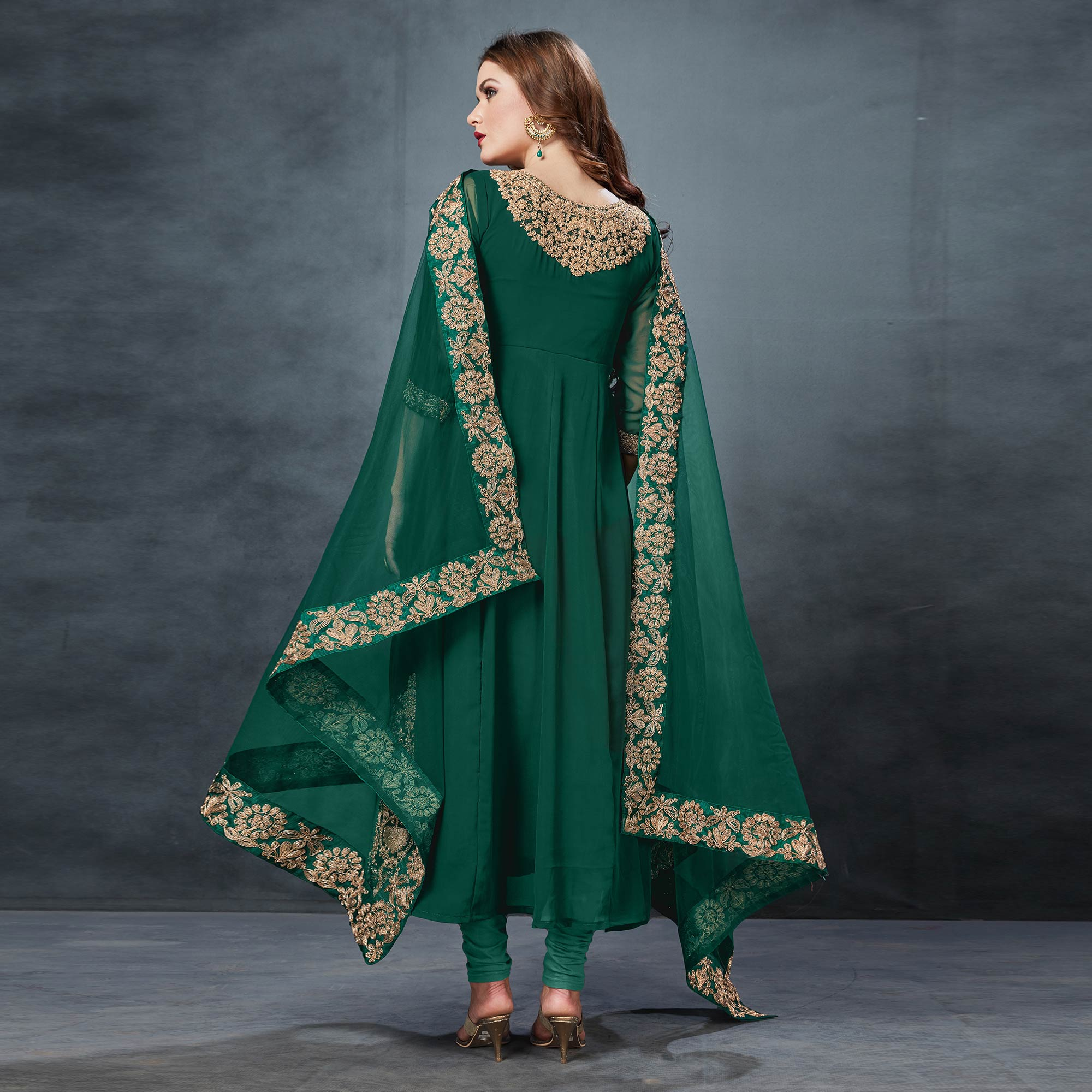 Trendy Green Colored Partywear Embroidered Georgette Anarkali Suit